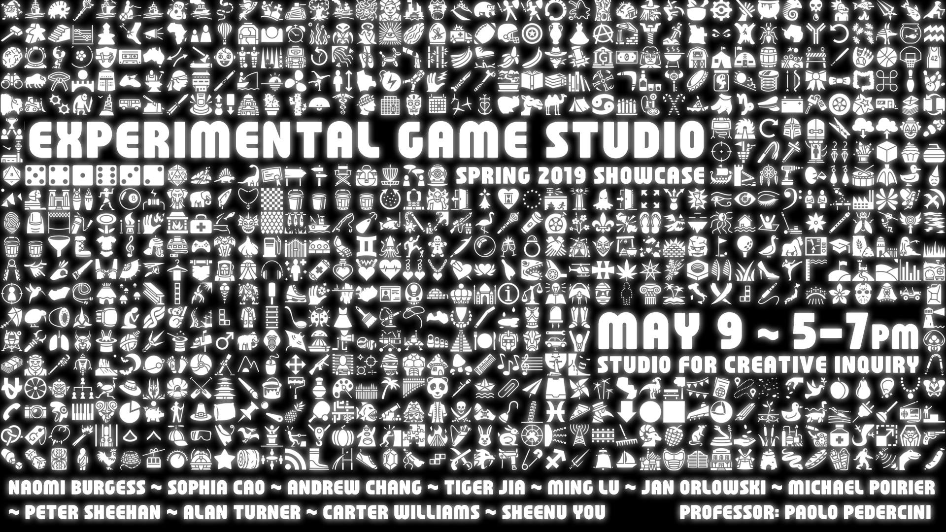 flyer for experimental game design showcase