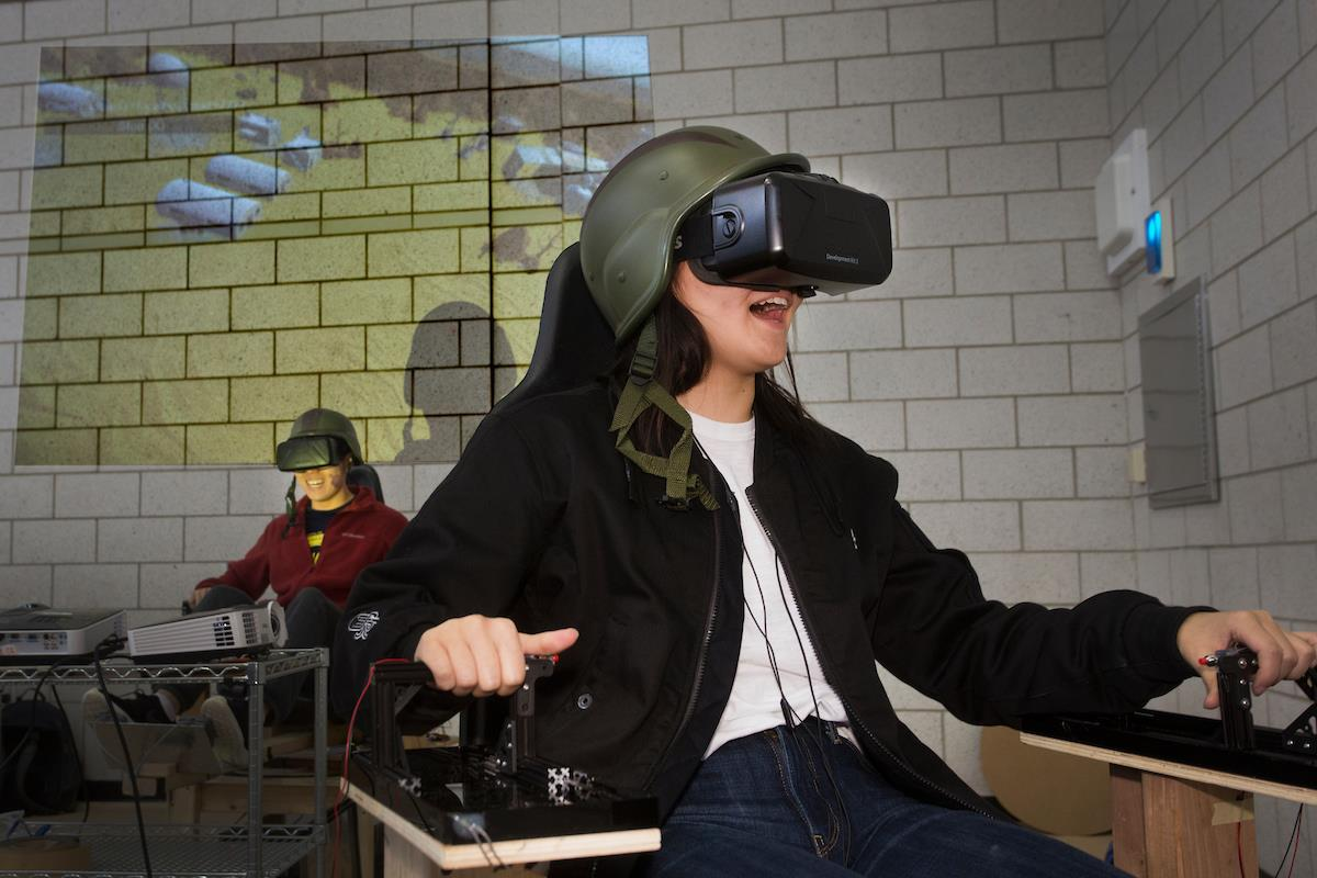 Students play the VR Tank Game at the Build18 Festival
