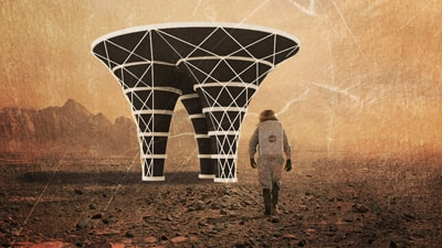 Rendering of the Mars structure that students created in an IDeATe course
