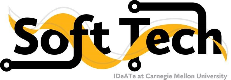 "Soft Technologies logo which is the words ""Soft Tech"" decorated with wavy lines and circuits. Below reads: IDeATe at Carnegie Mellon University"