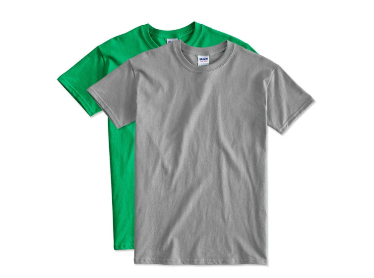 Two blank tshirts. One is green and one is grey.